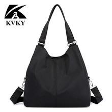 Bolso de mano de nailon para mujer, bolsa grande informal, morados, impermeable, color negro