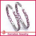 Carraton ESQD2109 50 мм Полный Круг Цвет Micro Pave CZ Алмаз Чистая Стерлингового Серебра 925 Большой Хооп Серьги 5 см