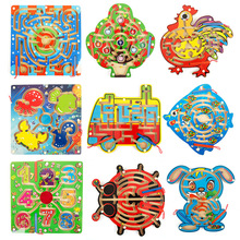 Educational Wooden Magnetic Maze Game Magnetic Pen Labyrinth Board Chess Intelligence Puzzle Games For Children Birthday Gifts