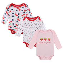 3Pcs Long Sleeve Baby Cotton Rompers