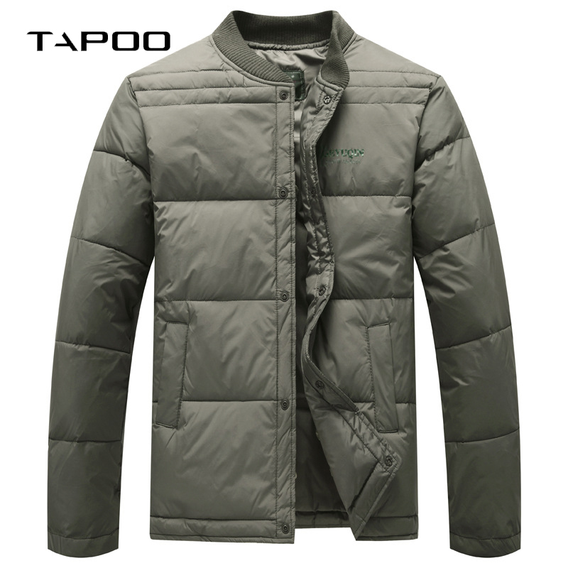 2018 New Brand Winter Mens White Duck Down Coats Solid Warmed Stand Collar Thick Casual Ultra Light Down Jacket Men