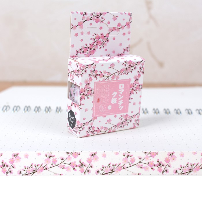 Romantic Pink Cherry Blossoms Washi Tape Diy Scrapbooking Sticker Label Masking Tape School Supply