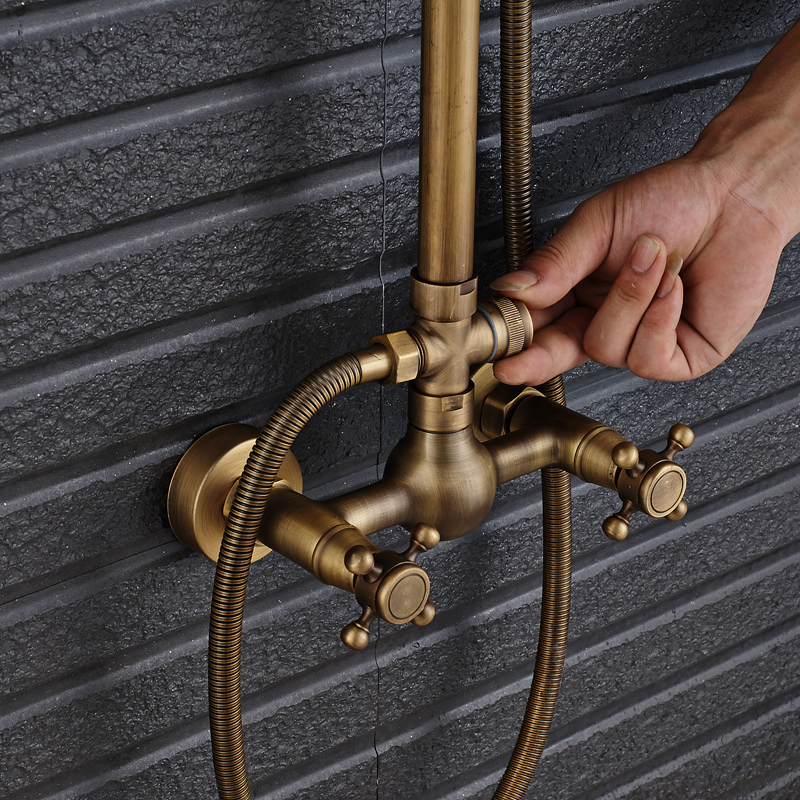 """Image 4 - Antique Brass Shower Faucet Mixers Dual Handle Rainfall 8"""" Brass Shower Head with Bath Storage Shelf and Hooks Shower Water Tap-in Shower Faucets from Home Improvement"""