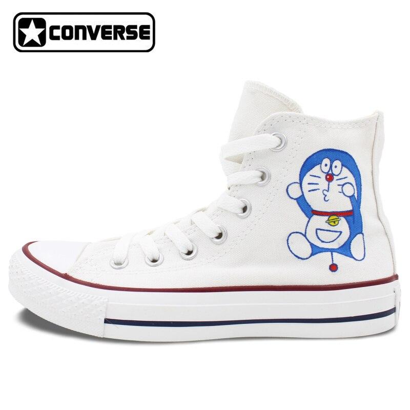 Prix pour Blanc Converse All Star Femmes Hommes Chaussures Doraemon Conception Peint À La Main Chaussures Garçons Filles Sneakers Planche À Roulettes Chaussures Unique Cadeaux