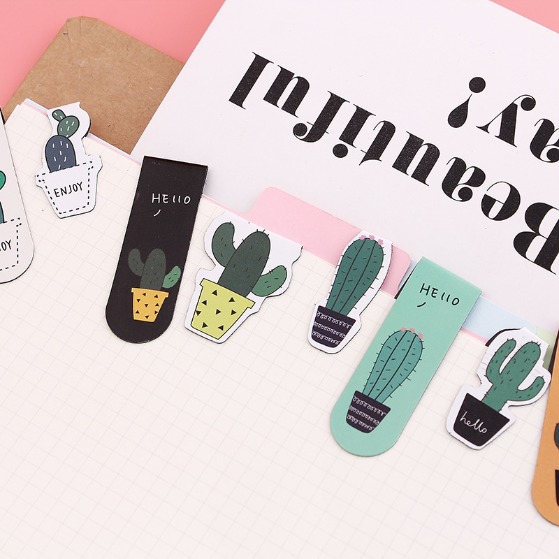 2 Pcs/pack Cactus Magnet Bookmark Cute Paper Clip Bookmarks For Books School Office Supplies Escolar Stationery Gift