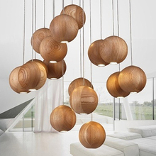 Modern Wood Ball Chandelier Dining Living Room Pendant Ceiling Art Light Lamp