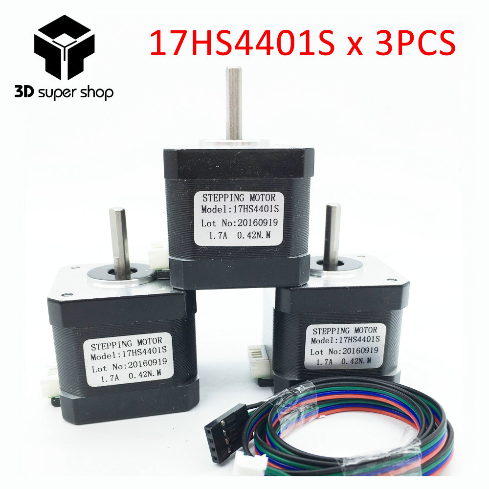 3 unids/lote. Envío libre 3D impresora 4 Plomo Nema17 Stepper Motor 42 motor Nema 17 motor 42 BYGH 1.7A (17HS4401S) motor para CNC XYZ