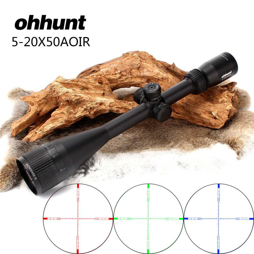 Hunting ohhunt 5-20X50 AOIR Optics Riflescopes Half Mil dot R/G/B Illuminated Reticle Turrets Lock Reset Full Size Rifle Scope hunting ohhunt optics 3 9x32 ao compact 1 2 half mil dot reticle riflescopes turrets locking with sun shade tactical rifle scope