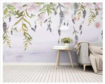 beibehang papel de parede Super silky thickening wallpaper Nordic hand-painted European floral living room background wall paper