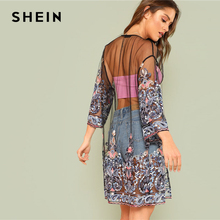 SHEIN Boho Embroidered See Through Mesh Kimono Women Paisley 3/4 Sleeve Sheer Tribal Blouse 2018 Summer New Casual Long Kimono