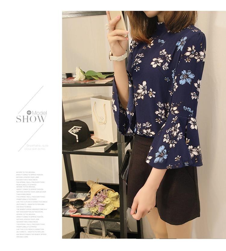 2016 jesień kwiatowy flare rękawem koszula szyfonowa bluzka kobiet topy kobiety biuro panie bluzka koreański fashion blusas chemise femme 5