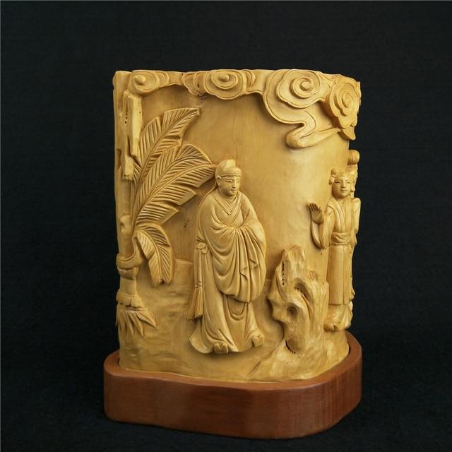 Yueqing sculture in legno di bosso figura studioso penna