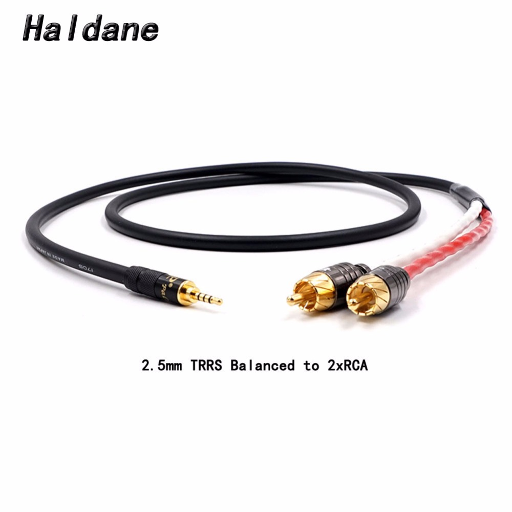 Free Shipping Haldane 2.5/3.5/4.4mm Balanced Male To 2 RCA Male Audio Adapter Cable 7N OCC Single Crystal Copperr Audio Cable