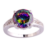 Wholesale Engagement Bridal Round Cut Rainbow & White Sapphire 925 Silver Ring Size 6 7 8 9 10 11 12 Women Jewelry Free Shipping