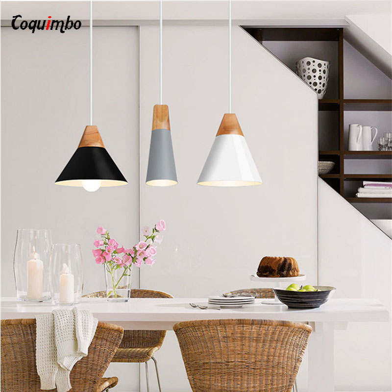 Nordic Slope Lamps Pendant Lights Wood And Aluminum Restaurant Bar Coffee Dining Room Bedroom LED Hanging Light Fixture