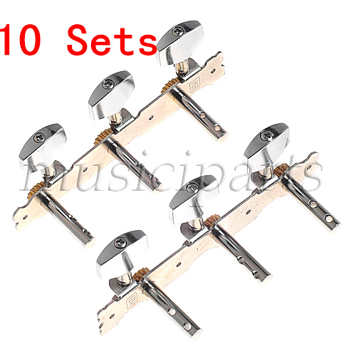 10 Set On Plate Tuning Pegs Machine Tuner Heads For Guitar parts Replacement a set chrome sealed gear tuning pegs machine heads tuners for guitar with black big square wood texture buttons