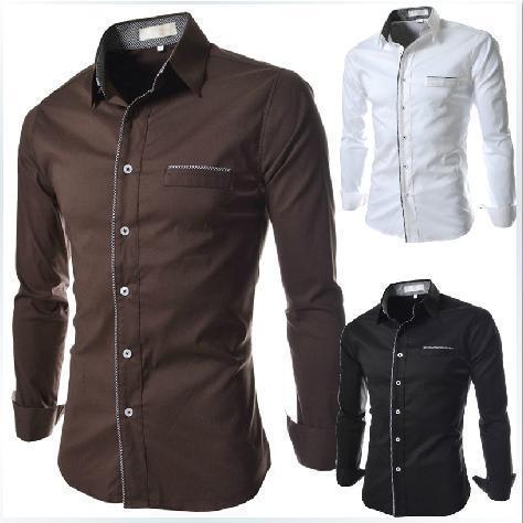 2018 New Leisure Luxury Trim Mens Long Sleeve Shirt