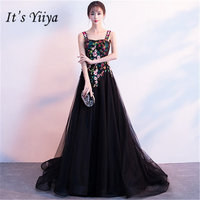 It's YiiYa Black Prom Gowns Sexy Spaghetti Strap Train Party Dresses Vintage Embroidery Formal Frocks WH050