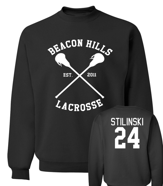 Wolf Stiles Stilinski men hoodies BEACON HILLS LACROSSE  24 Teen sweatshirts 2017 new autumn winter hip hop style tracksuit