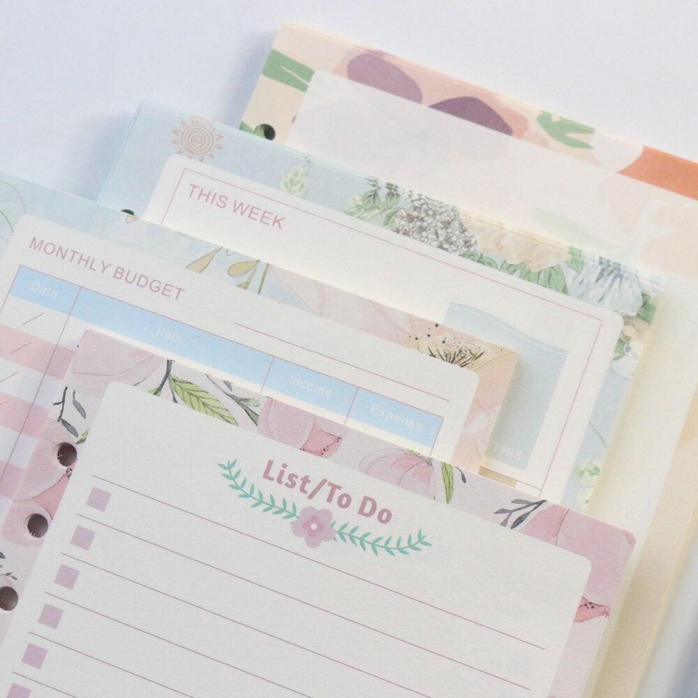 Grid Blank Liste A5a6 Gelernt Domikee Cartoon Blume Design 6 Löcher Nachfüllen Innere Papiere Core Für Binder Notebooks: Täglich Wöchentlich Planer