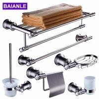 Stainless steel Bathroom Accessories Set Robe Hook,Paper Holder,Soap basket,Towel Rack Bars,Toilet Brush Holder Wall Mounted