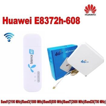 Unlocked Huawei E8372 E8372h-608 150Mbps 4G LTE usb Wifi modem carfi car wifi router Plus 35dbi TS9 4g antenna