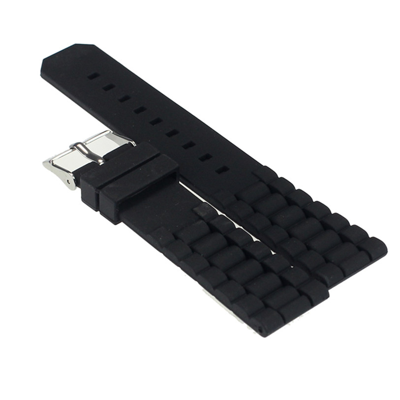 Superior Mens Black Silicone Rubber Diver Watch Band Strap For Fossil Nate 22mm July 20