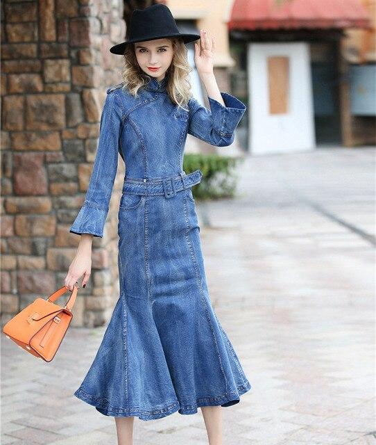 Autumn Denim Cheongsam Dress 2017 Runway Vintage Women Stand Collar Flare  Sleeve Slash Mermaid Long Blue Jeans Dresses Vestidos 0b45839ea9a5