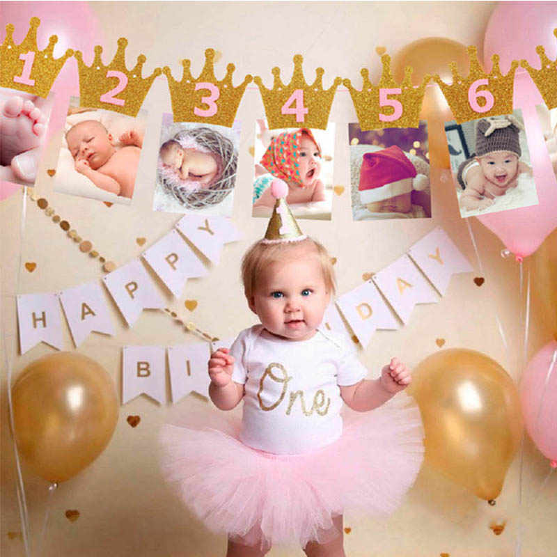 Gala-zone Baby 1st Birthday Boy สาว 12 เดือนแบนเนอร์ I AM ONE Photo Booth แบนเนอร์ My First ตกแต่งเด็ก