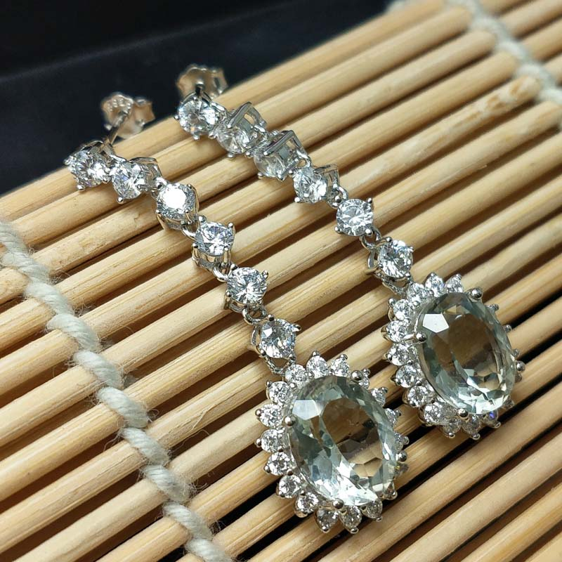 FLZB Drop long earrings natural green amethyst in 925 sterling silver with 18k white gold plated
