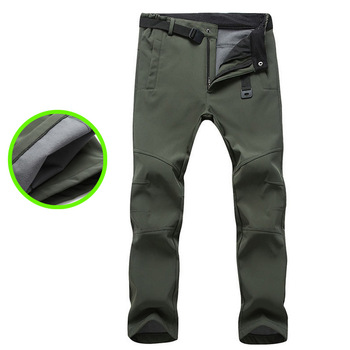 Top quality 2020 outdoors autumn winter thicken Fleece thermal warm soft shell stretch waterproof military trousers men