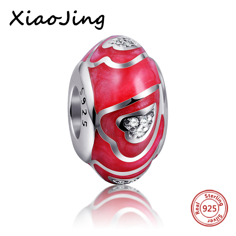 100 Authentic 925 Sterling Silver Jewelry Red Love Heart Charm Beads Fit pandora Bracelets Pendants DIY Original Gifts in Beads from Jewelry Accessories