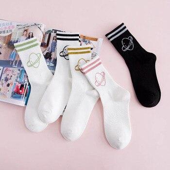 Cartoon Funny Socks Women 100% Cotton Cute Socks Happy Letter Harajuku Socks Spring Summer Ladies Socks White Glitter Striped striped trim socks