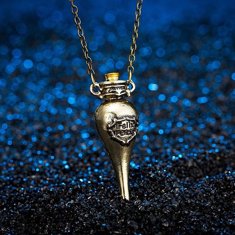 Magic Potion Bottle Felixfelicis Movie colar Pendant Necklace Hot Choker -W128