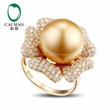 CaiMao Pearl cut Semi Mount Ring Settings & 1.09ct Diamond 14k Yellow Gold Gemstone Engagement Ring Fine Jewelry