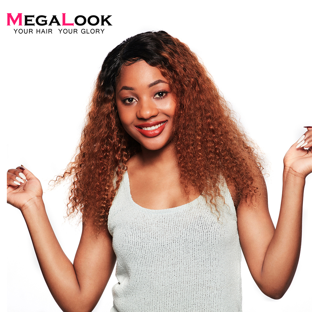 Megalook 1B/30 Kinky Curly Lace Front Human Hair Wig Pre Plucked With Baby Hair Remy Hair Wig 12-34 Inch 210% Density