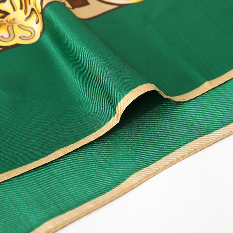 Twill Silk Shawls and Wraps Animal Print Green Scarves For Women Hijab Scarfs Female 130 130cm Square Shawl Scarfs For Lady 2019 in Women 39 s Scarves from Apparel Accessories