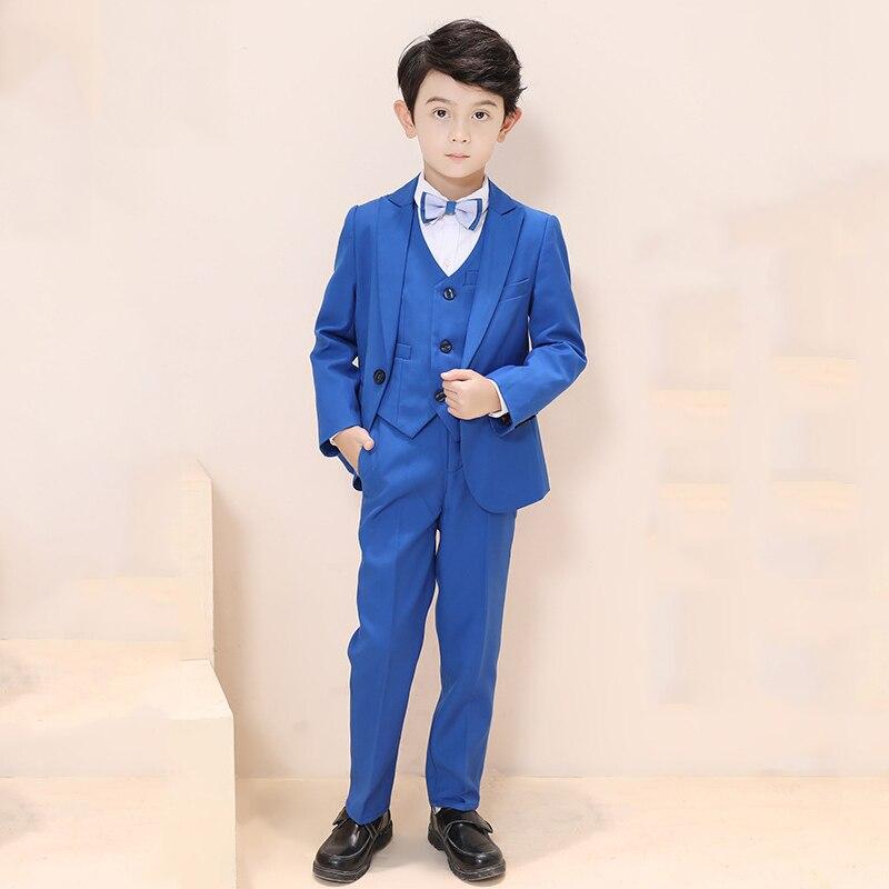 Bébé garçon costume pour mariage Piano fête adolescents garçons Blazer + pantalon + chemise + nœud papillon + gilet 4/5 pièces enfants garçons costumes ensembles de vêtements formels Y129