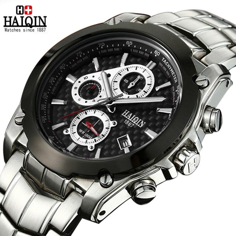 mens wristwatches top brand HAIQIN luxury man watche quartz 316L stainless steel 100m waterproof chronograph calendar male clock rga r 981 sports watche red