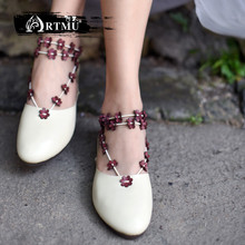 Artmu Original New Flowers Simple Flat Shoes Genuine Leather Soft Sole Handmade Women 1860-17