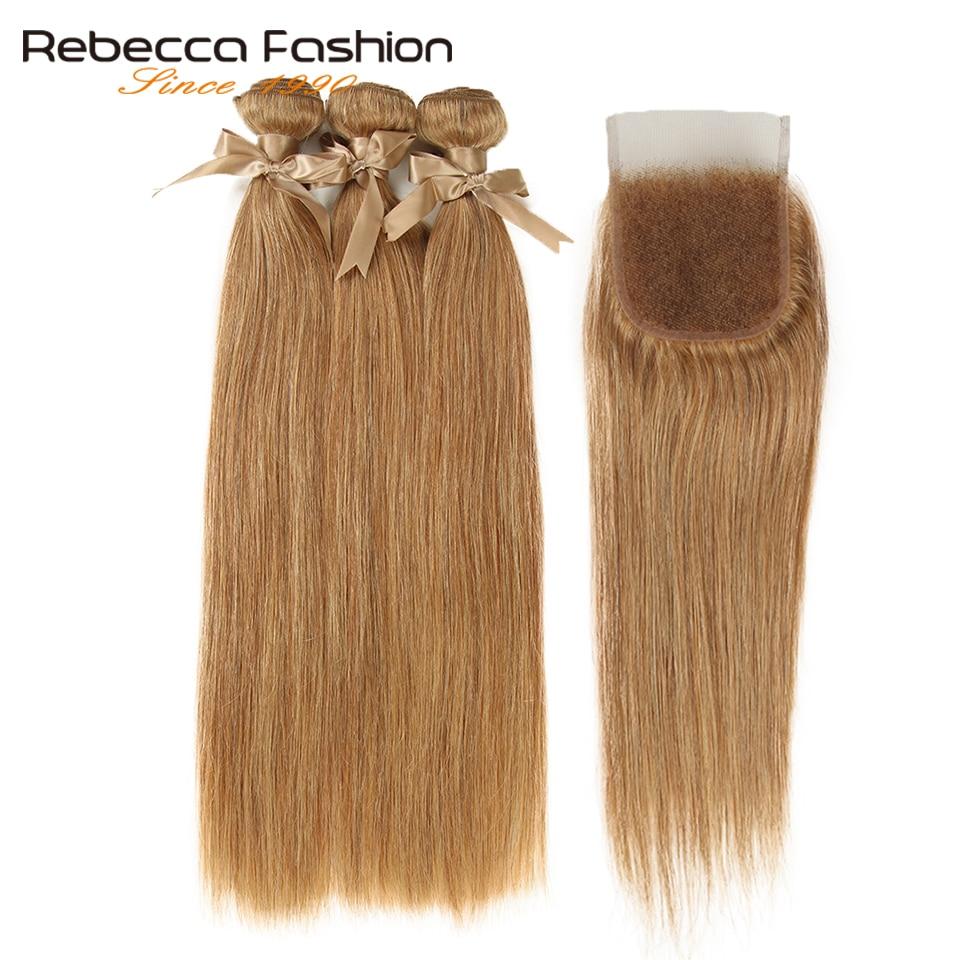 Rebecca-pelo liso brasileño 3 mechones con cierre, pieza libre, Color mixto, 27/30, Remy, extensiones de cabello humano mechones con cierre