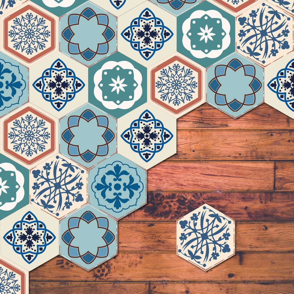 6pcs/set 3D Decorative Pattern Hexagon Tiles Floor Art Sticker ...