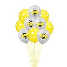 12Inch Confetti Bee Balloon Black Yellow Dots Latex Inflatable Babyshower Party Supplies Birthday Decorations Balloons Wedding стоимость