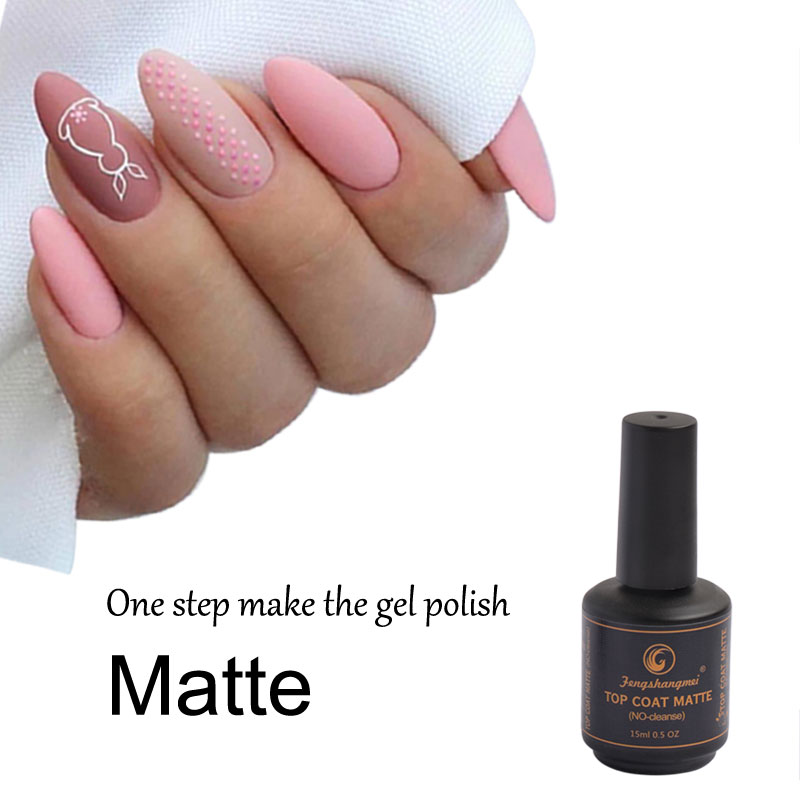 Fengshangmei Matte Nail Polish Top Coat Matt Finish Gel Dlouhotrvající Led UV Matný Top Lak 15ml