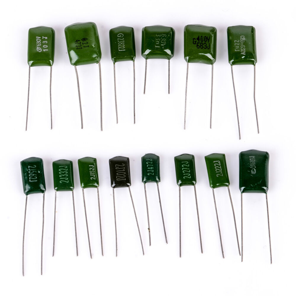 180pcs/lot Polyester Film Capacitor Assorted Kit 2A104J 2A332J 2A472J 2A103J 2A333J 2A473J 2A563J 2A223J  Capacitors Set Pack