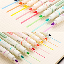 8 Colors/set Double Headed Highlighter Pen Mild Liner Highlighters Fluorescent Pen Marker Art Drawing School Supplies 04437(China)
