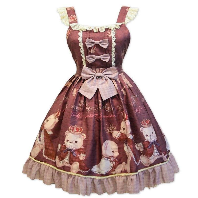 Principessa dolce lolita vestito di Estate e la primavera originale orso stampato vestito dalla cinghia tutti i giorni tutto fiammifero di modo del vestito delle donne ZJY157 - 5