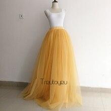 [תפור לפי מידה] 7 שכבות 110 cm ארוך טול חצאית קפלים חצאיות נשים חתונה כלה שושבינה חצאית לוליטה תחתונית faldas saia