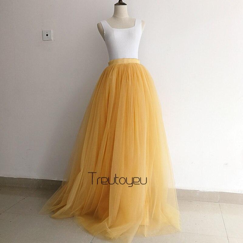 [Custom Made] 7 couches 110 cm longue jupe en Tulle jupes plissées femmes de mariage mariée demoiselle d'honneur jupe Lolita jupon faldas saia