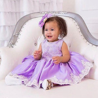 Short light Purple knee length toddler graduation dress baby 1st birthday outfit laces zipper back girl prom party gown with bow